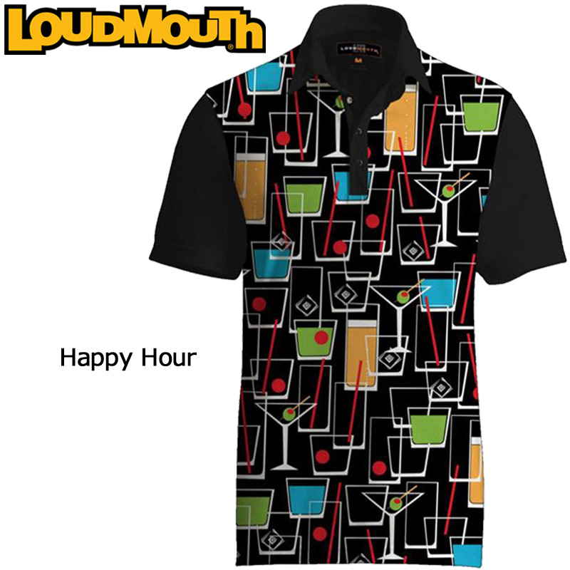 """【メール便可250円】Loudmouth Fancy Shirt """"Happy Hour"""" (ラウドマウス ファンシーシャツ """"ハッピーアワー"""")メンズ 半袖 ポロシャツ【新品】ゴルフウェアトップス"""