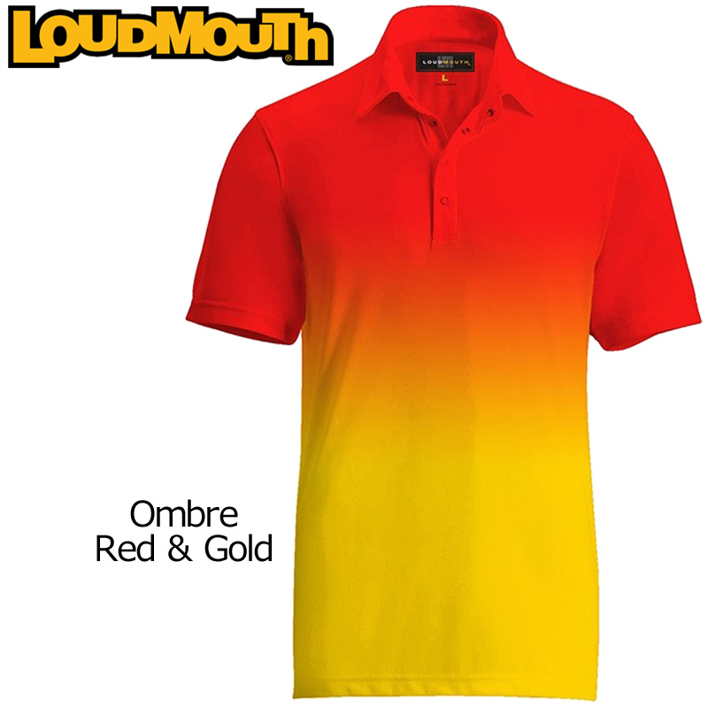 """【メール便発送】Loudmouth Fancy Shirt """"Ombre Red Gold"""" ラウドマウス 半袖 ファンシーシャツ【新品】 Loudmouth メンズ ポロシャツ ゴルフウェア トップス"""