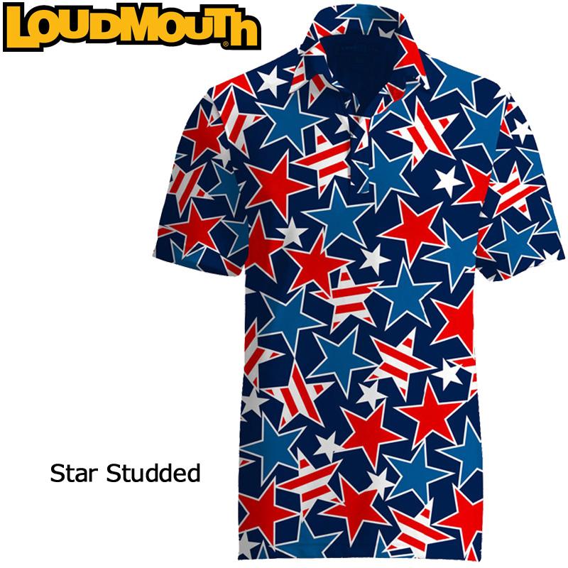 【メール便発送】ラウドマウス 半袖 ファンシーシャツ (Star Studded スタースタッズ) Loudmouth Fancy Shirt【新品】SS ゴルフウェアメンズポロシャツトップス