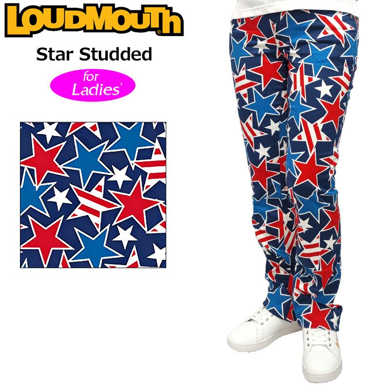 【42%off】【インポート】レディース ラウドマウス ロングパンツ ジーンズカット (Star Studded スタースタッズ) 767380(078)【新品】17SSゴルフウェアLoudmouth派手 派手な 柄 目立つ 個性的