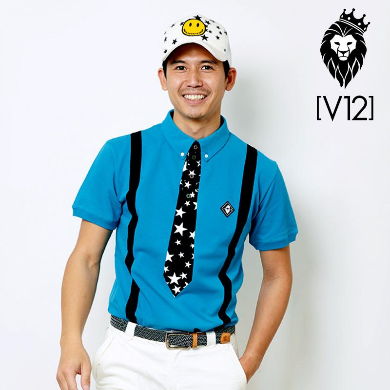 V12 ゴルフ ヴィ・トゥエルヴ メンズ FAKE TIE 半袖ポロシャツ V121810-CT03 71/ターコイズ 春夏【新品】18SS ゴルフウェア 半そで トップス フェイクタイ STAR スター 星柄 おしゃれ ブランド V12 GOLF