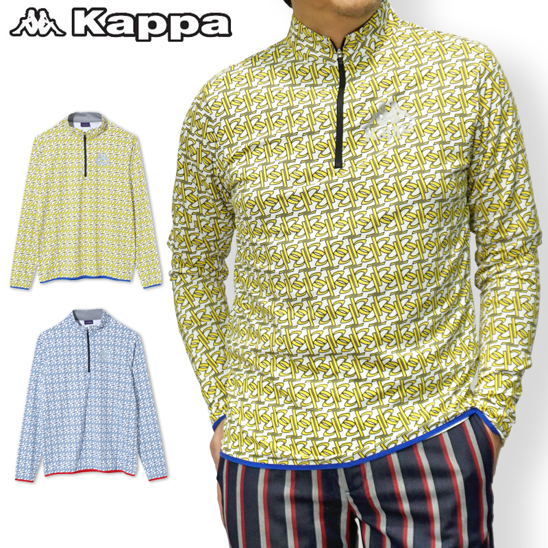 """【30%off】カッパゴルフ メンズ 長袖 ジップアップ ハイネックシャツ KC852LS21 """"Kappa G"""" Kappa Golf ゴルフウェア【新品】18FW ハーフジップ ZIP 男性用 紳士用 ゴルフウエア トップス 長そで"""