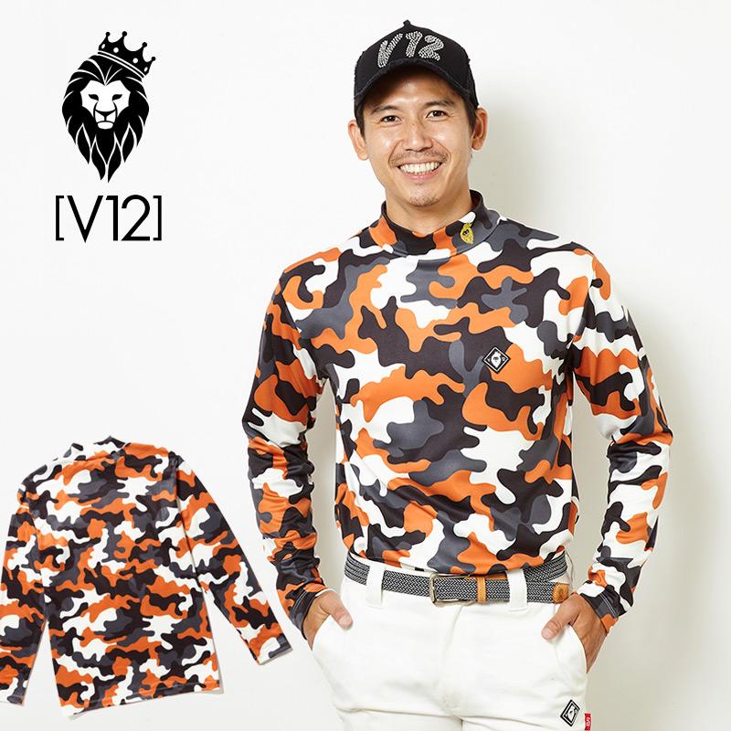 V12 ゴルフ ヴィ・トゥエルヴ メンズ CAMO MOCK 長袖モックシャツ V121820-CT09 45/オレンジ【新品】18FW ゴルフウェア 長そで トップス 総柄 カモ おしゃれ ブランド V12 GOLF