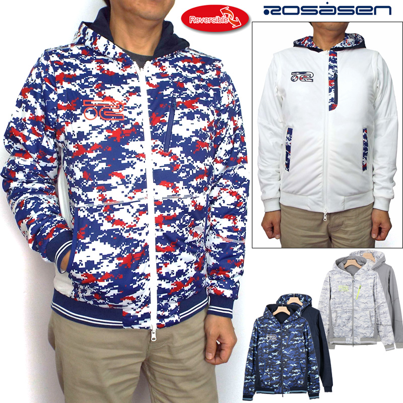 【30%off】ロサーセン メンズ リバーシブルパーカー 袖着脱式 044-58111 Rosasen 【新品】18FW ゴルフウェアトップス男性用紳士用ジャケットブルゾンベストアウター