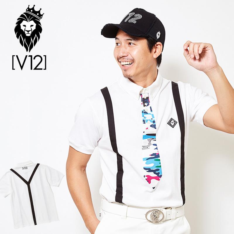 V12 ゴルフ ヴィ・トゥエルヴ 2019 メンズ FAKE TIE 半袖ポロシャツ V121910-CT02 02/ホワイト 【新品】19SS ゴルフウェア男性用紳士用半袖トップス迷彩MAR2 MAR3