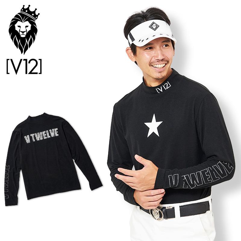 V12 ゴルフ ヴィ・トゥエルヴ 2019 メンズ ONE STAR モックネック 長袖シャツ V121920-CT01 19/BLACK【新品】19FW ゴルフウェア 長そで トップス ワンスター おしゃれ ブランド V12 GOLF