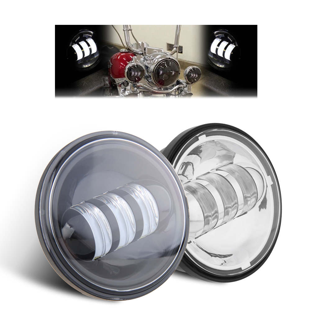 宅配便送料無料! 4.5インチ ハーレー LEDフォグランプ 60W 補助灯 2個セット ブラック/シルバー2色選択 Harley 黒/銀 LED ヘッドライト 一年保証 車検対応 最新型 バイク 純正 オートバイ LED ライト 4-1/2