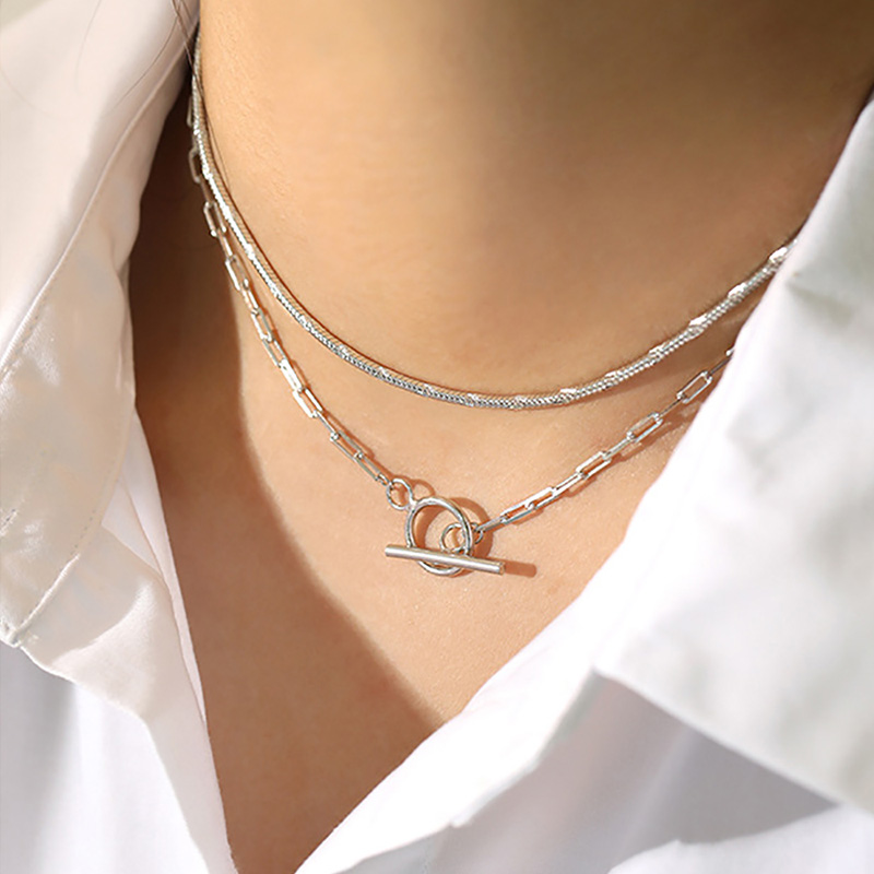 <title>人気のTバーチェーンネックレス チョーカーとしても オリジナル Silver925 Mantel Chain Necklace 追跡可能メール便 送料210円 y0092</title>
