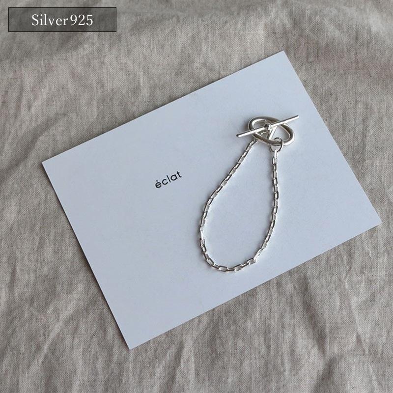【eclat エクラ】 Silver925 Mantel Hook Chain Bracelet 【追跡可能メール便210円】e0206