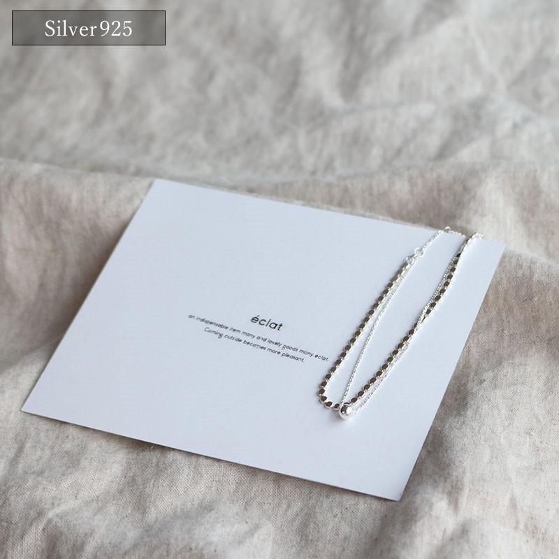 ※【追跡可能メール便送料無料】をご利用の場合、付属品は付いておりません。/ 【eclat エクラ】 Silver925 Sphere & Flat Double Chain Bracelet 【追跡可能メール便送料無料】e0209