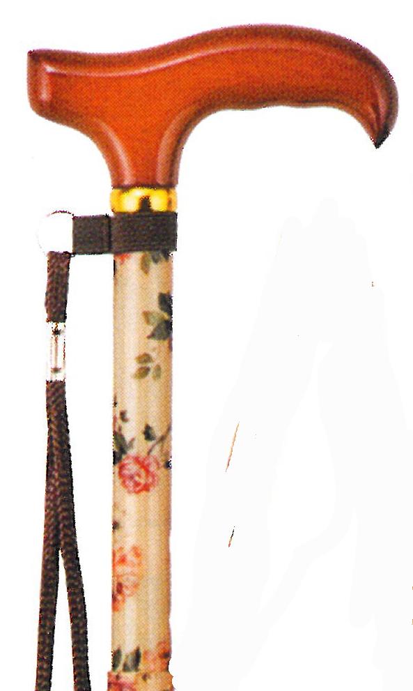 生地巻き伸縮 折りたたみ杖 ローズフラワー