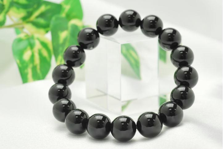 高品質【12mm】AAAAA チベット産 天然モリオン(黒水晶)ブレスレット