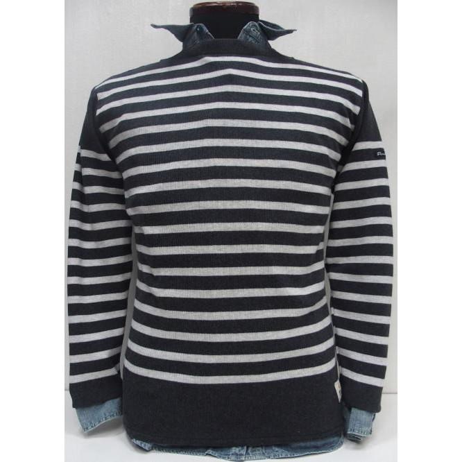 Fileuse d'Arvor(フィールズダルボー)[Brest Boat-Neck]Made in France/オーガニックコットン/ボートネック/バスクシャツ/ボーダー/チャコール/長袖ニット・セーター!