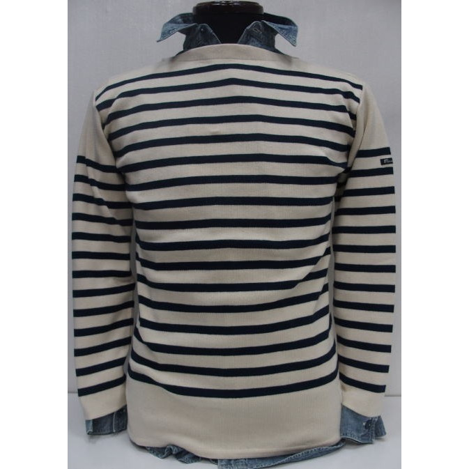 Fileuse d'Arvor(フィールズダルボー)[Brest Boat-Neck]Made in France/オーガニックコットン/ボートネック/バスクシャツ/ボーダー/アイボリー/長袖ニット・セーター!