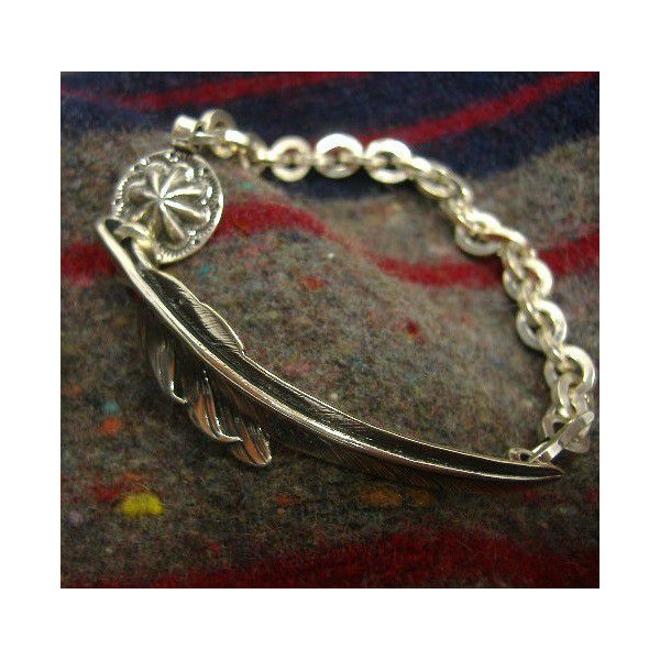 LARRY-SMITH(拉力赛史斯密)Silver Jewelry[Kazekiri Chain Bracelet]Silver 950/银子/手镯/感冒锥子羽根/配饰/印第安珠宝!]