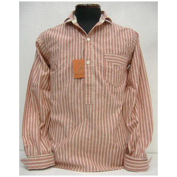 HELLER'S CAFE(herazukafe)by WAREHOUSE[1910's Red Stripe One Pocket Coat Style]套衫襯衫/長袖子襯衫!