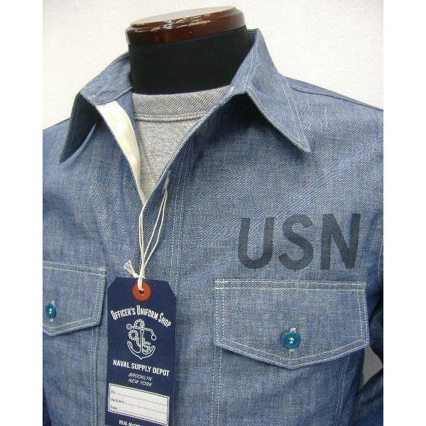 THE REAL McCOY'S(这种真实麦科伊)NAVY CHAMBRAY SHIRT[U.S.N.]军事/shambureshatsu/长袖子衬衫!