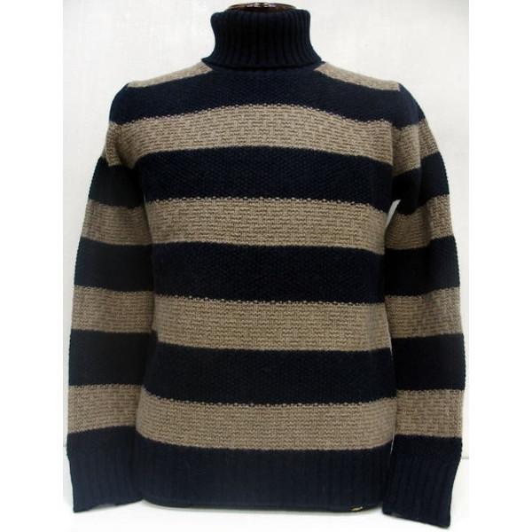 SEVESKIG(セヴシグ)[5G Border Turtle Neck Sweater]タートルネック/ボーダー/ウール/セーター/Made in Japan!