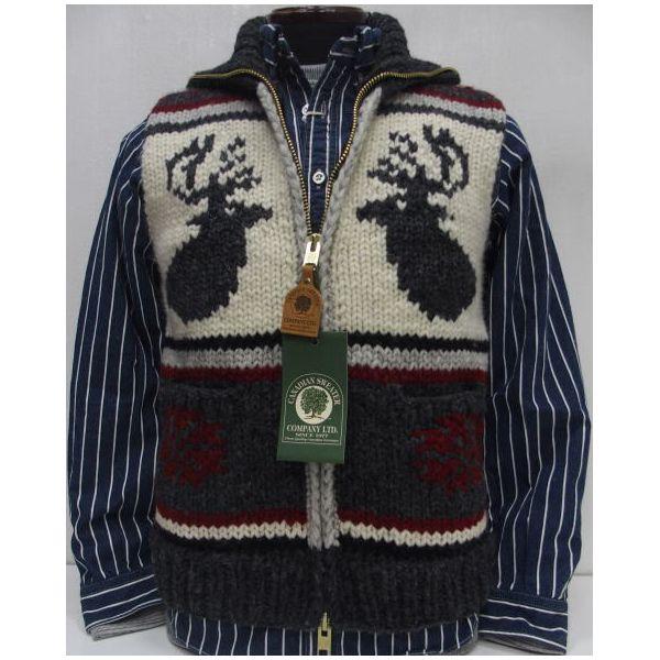 Canadian Sweater Company Ltd.(カナディアンセーター)[Canadian Vest/別注デザイン!]Hand Knit in Canada カナディアンセーターカンパニー/鹿柄/Wジップ/ベスト/ニット!