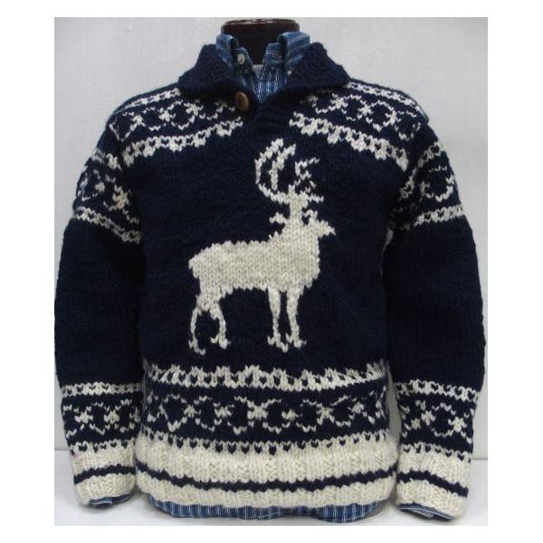 Canadian Sweater Company Ltd.(カナディアンセーター)[Canadian Pullover Sweater/別注デザイン!]Hand Knit in Canada カナディアンセーターカンパニー/長袖ニット/鹿柄/セーター/ショールカラー/プルオーバー !