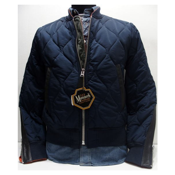 Monarch Milwaukee (モナーク)  Jacket Flying Intermediate Type MB2  モナークミルウォーキー    military   riders   outdoor   quilting jacket   navy   outer! a35390aaf4d