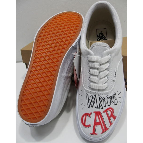 free rage (free lance Reiji) X VANS ERA [Hand Paint Sneaker] sneakers low frequency cut canvas hand paint white station wagons gills