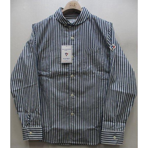 Arvor Maree SAILOR WORK LONG 高品質 SLEEVE SHIRT MADE IN JAPAN Stripe マレー 再入荷 日本製 長袖シャツ 2021梅春 ワークシャツ 新品未使用 セーラーカラー アルボー