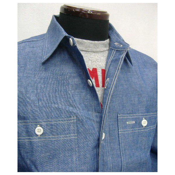 57ddc52ad48 WAREHOUSE (wear house) Original Chambray Work Shirts  Lot.3076  chambray  shirt   work   long sleeves shirt!