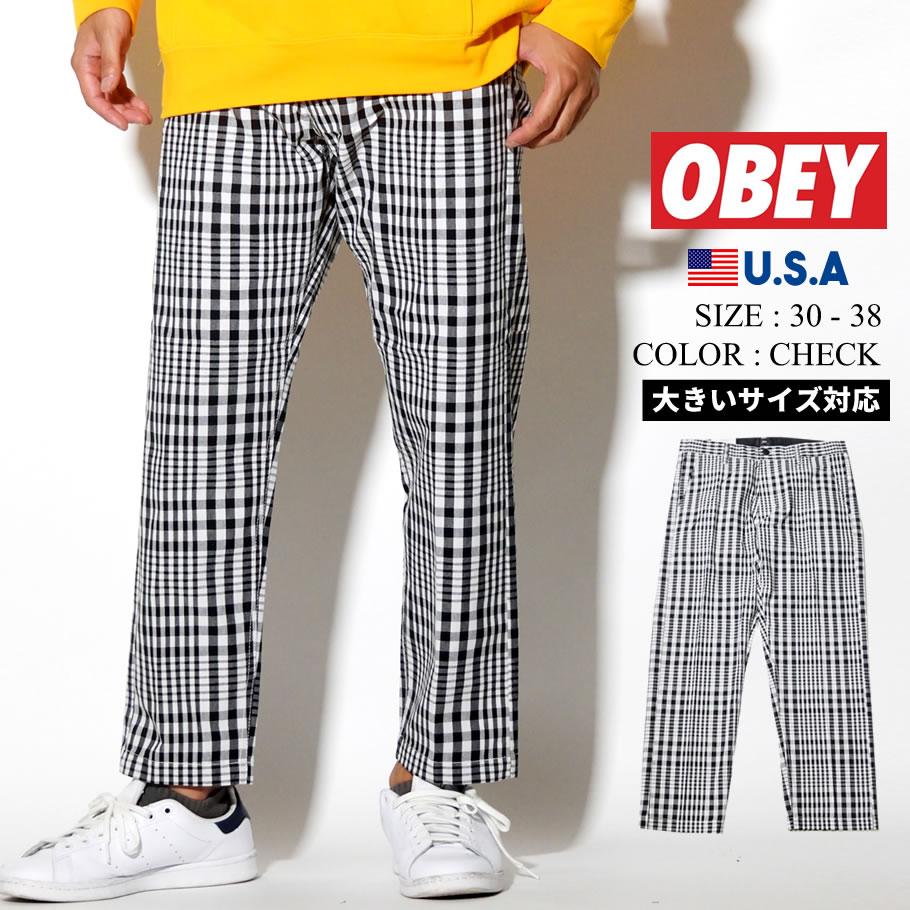 オベイ OBEY チェック柄パンツ メンズ 142020126 大きいサイズ 2019秋 新作
