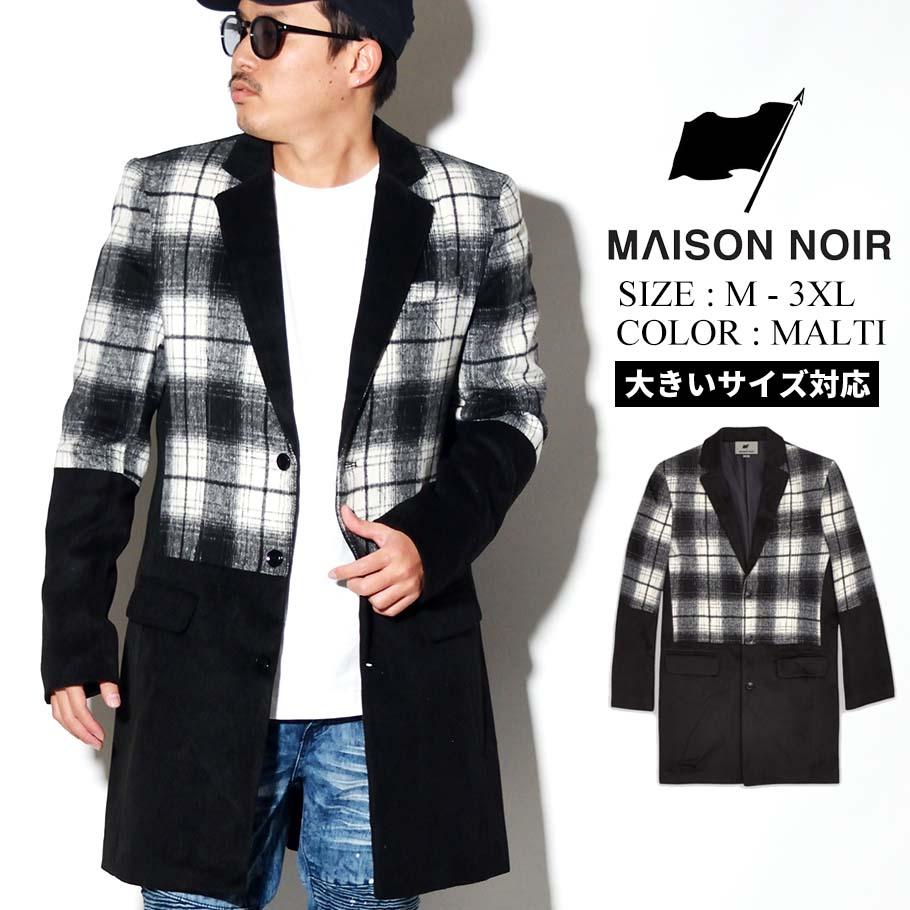 MAISON NOIR メゾンノワール チェスター コート メンズ アウター ロングコート チェック DOUBLE AGENT COAT HO-154