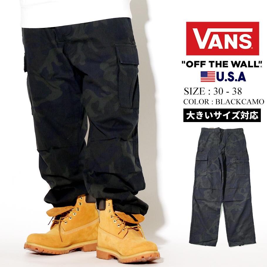 VANS バンズ カーゴパンツ メンズ ロング カモ 迷彩 ロング ドローコード ストリート ファッション DEPOT CARGO PANT VN0A3W4NYKK