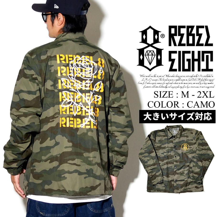 REBEL8 【レベルエイト】 コーチジャケット メンズ ナイロン B系 ファッション メンズ ヒップホップ ストリート系 ファッション HIPHOP