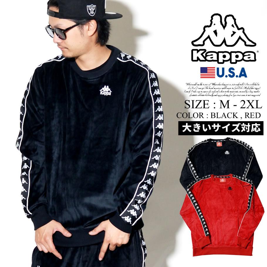 KAPPA カッパ トレーナー トップス クルーネック メンズ 長袖 ロゴ サイドライン BANDA B系 ファッション ヒップホップ ストリート系