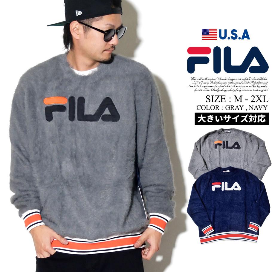 FILA フィラ モヘア ニットセーター メンズ USA企画 ユニセックス アップリケ ロゴ リブデザイン スポーツ ストリートファッション b系 LM183A70