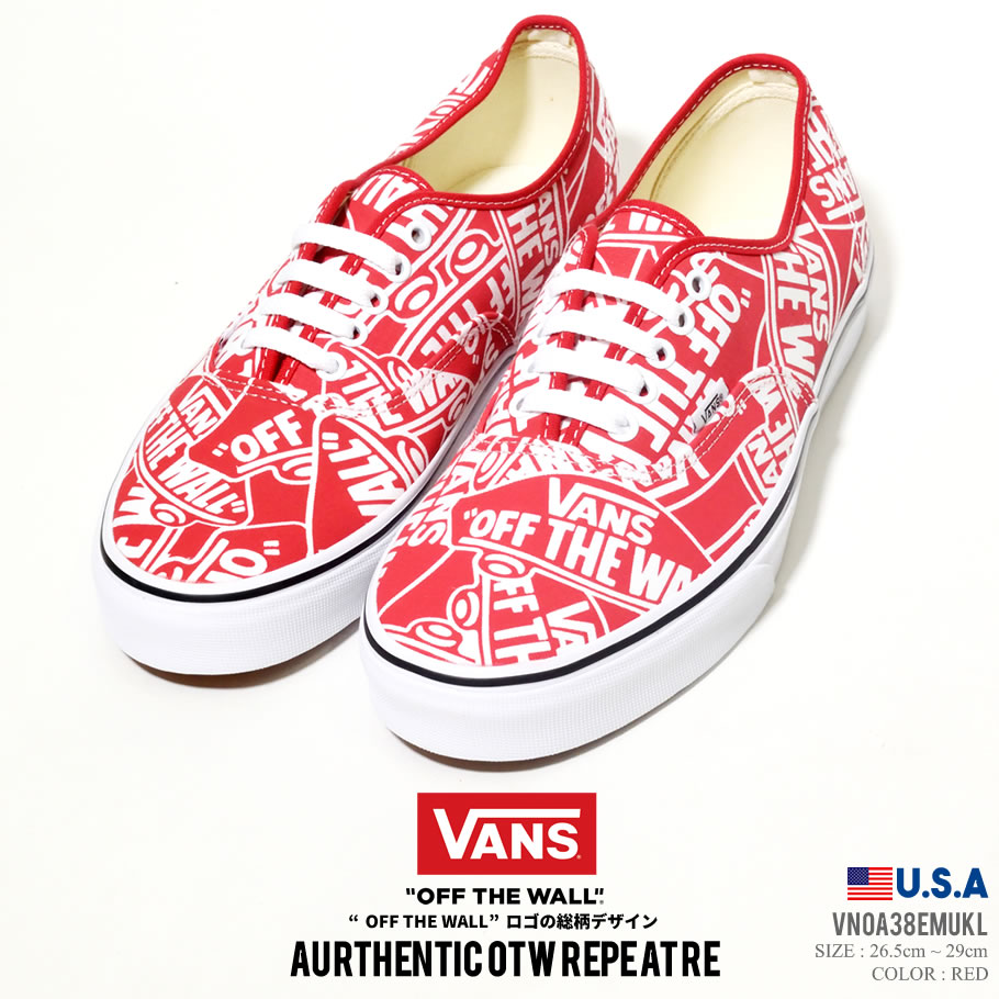 Hip hop VN0A38EMUKL of VANS vans sneakers men AUTHENTIC authentic red red whole pattern OFF THE WALL スケシュー shoes kicks shoes surf line street fashion