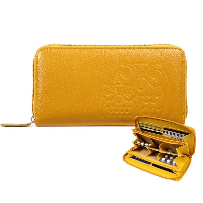 ふくろうを型押しした縁起の良い財布 配送員設置送料無料 本革 ふくろう小銭が分けれる長財布 財布 レディース 開運 在庫処分 ふくろう 長財布 かわいい おしゃれ イエロー 黄色 薬入れ