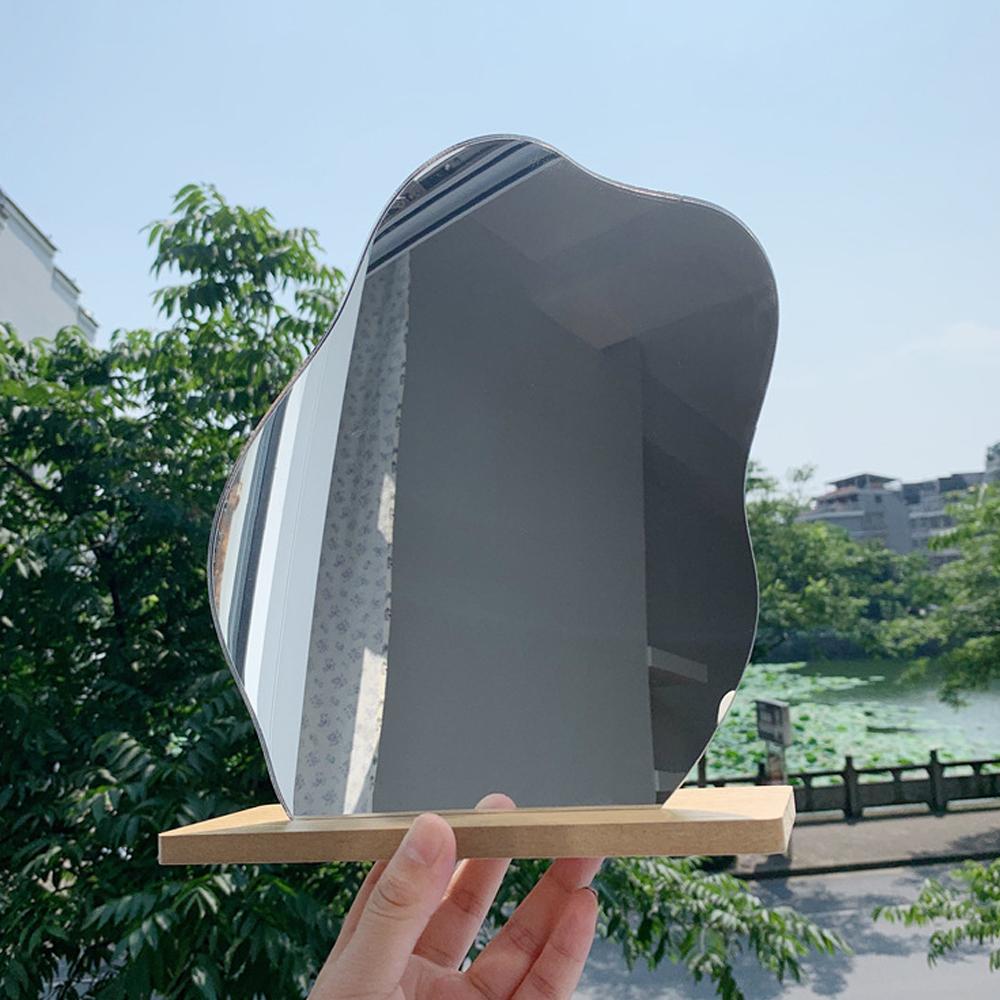 韓国 大人気 インテリア Lolover ウェーブミラー ウッド 人気ブレゼント! スタンド 付き 割れない 波型 化粧 ミラー 卓上 オブジェ ベッドサイド 鏡 贈答品 ルーム