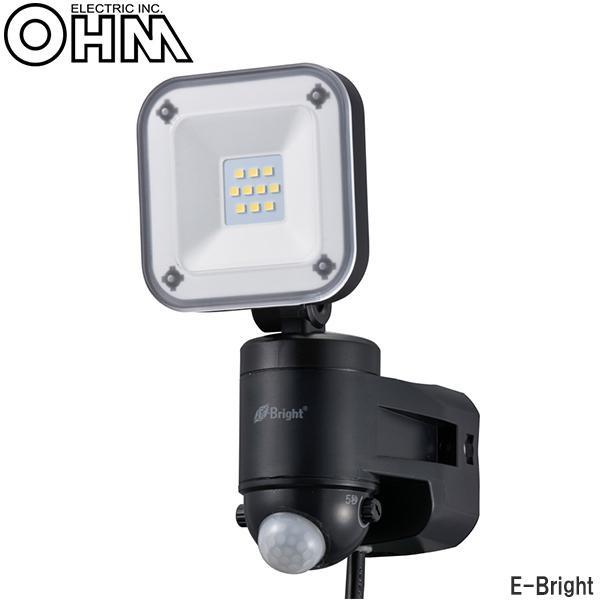 オーム電機 OHM E-Bright AC100V電源8W×1灯 LEDセンサーライト LS-A185B-K