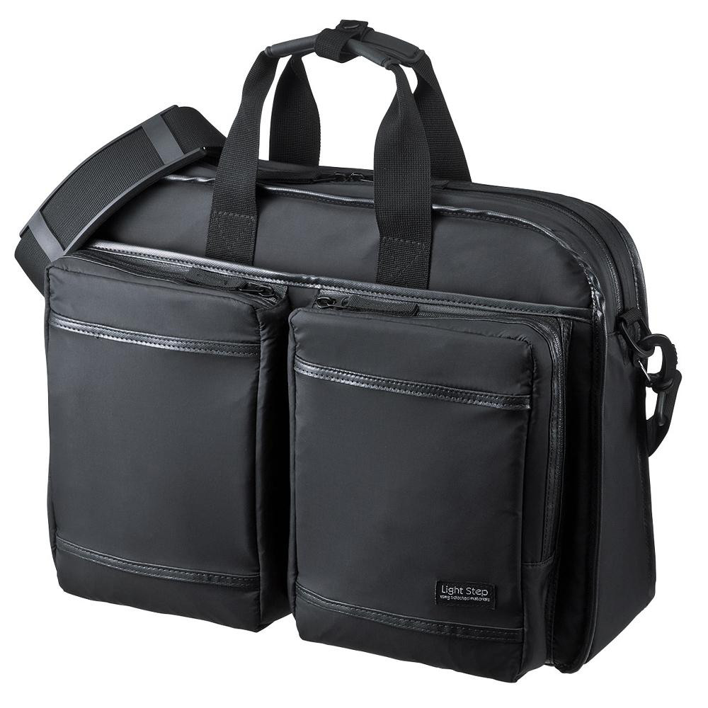 サンワサプライ 超撥水・軽量PCバッグ 3WAYタイプ 15.6インチワイド シングル ブラック BAG-LW10BK