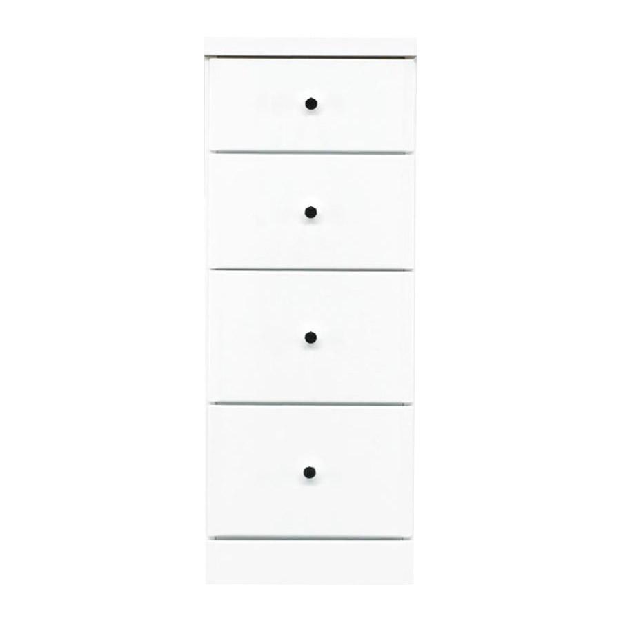【代引不可】ソピア サイズが豊富なすきま収納チェスト ホワイト色 4段 幅32.5cm