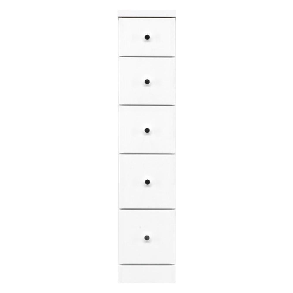 【代引不可】ソピア サイズが豊富なすきま収納チェスト ホワイト色 5段 幅22.5cm