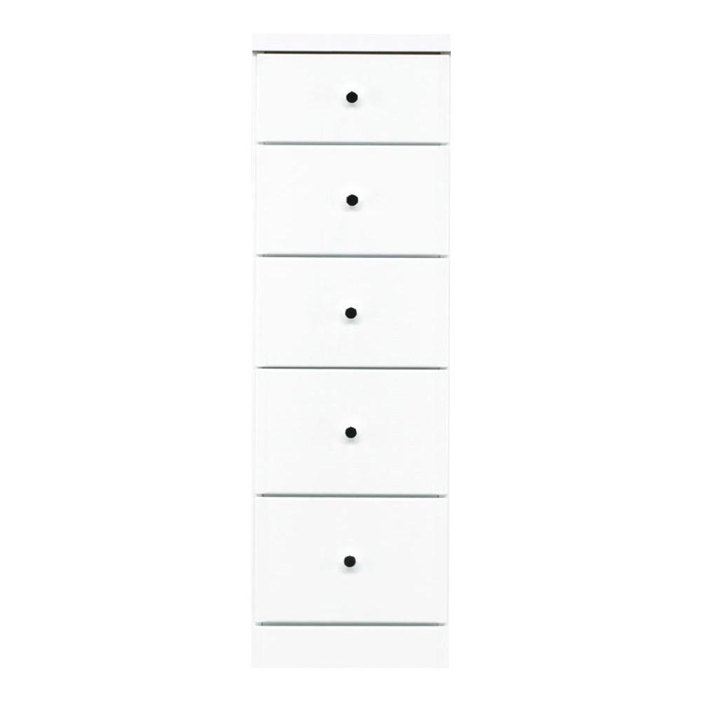 【代引不可】ソピア サイズが豊富なすきま収納チェスト ホワイト色 5段 幅32.5cm