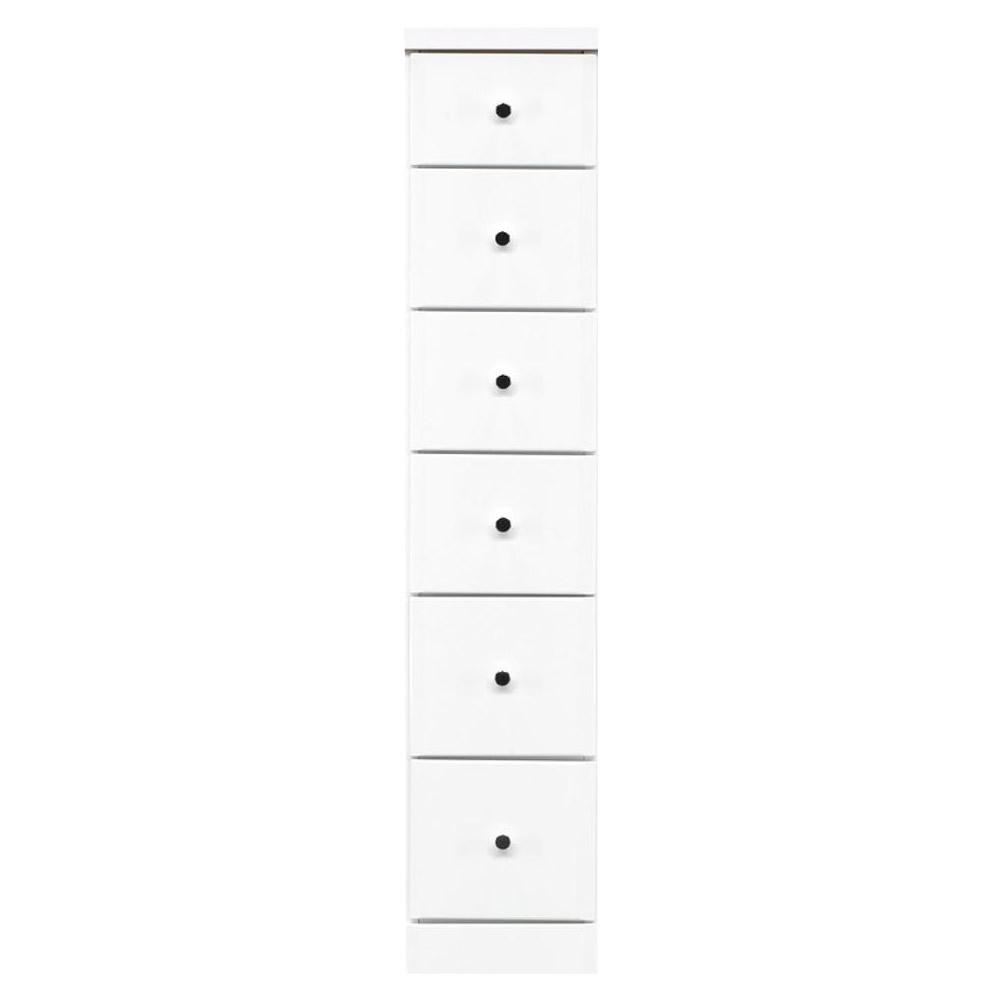 【代引不可】ソピア サイズが豊富なすきま収納チェスト ホワイト色 6段 幅25cm