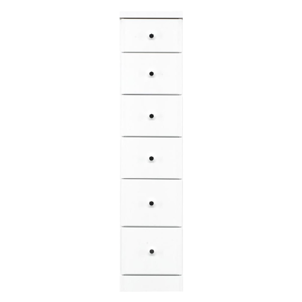 【代引不可】ソピア サイズが豊富なすきま収納チェスト ホワイト色 6段 幅27.5cm