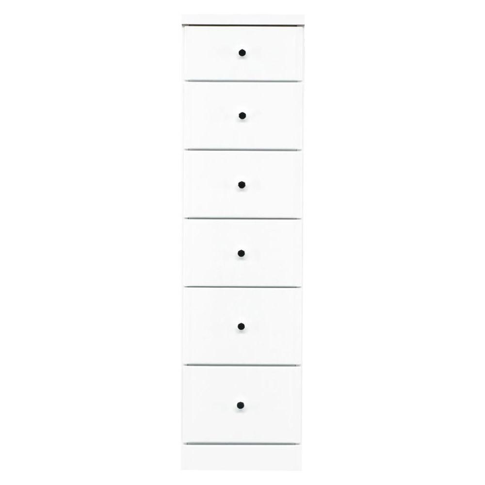 【代引不可】ソピア サイズが豊富なすきま収納チェスト ホワイト色 6段 幅32.5cm