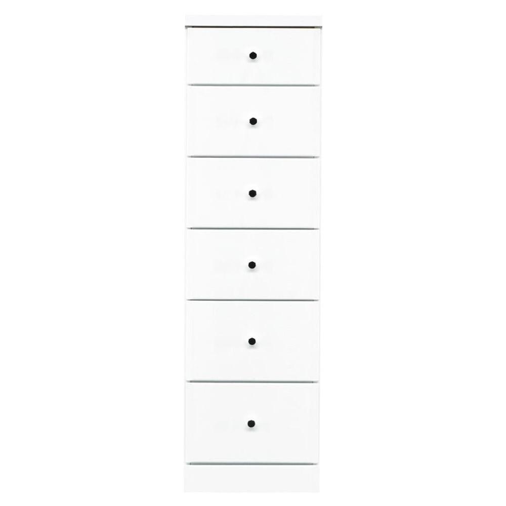 【代引不可】ソピア サイズが豊富なすきま収納チェスト ホワイト色 6段 幅35cm