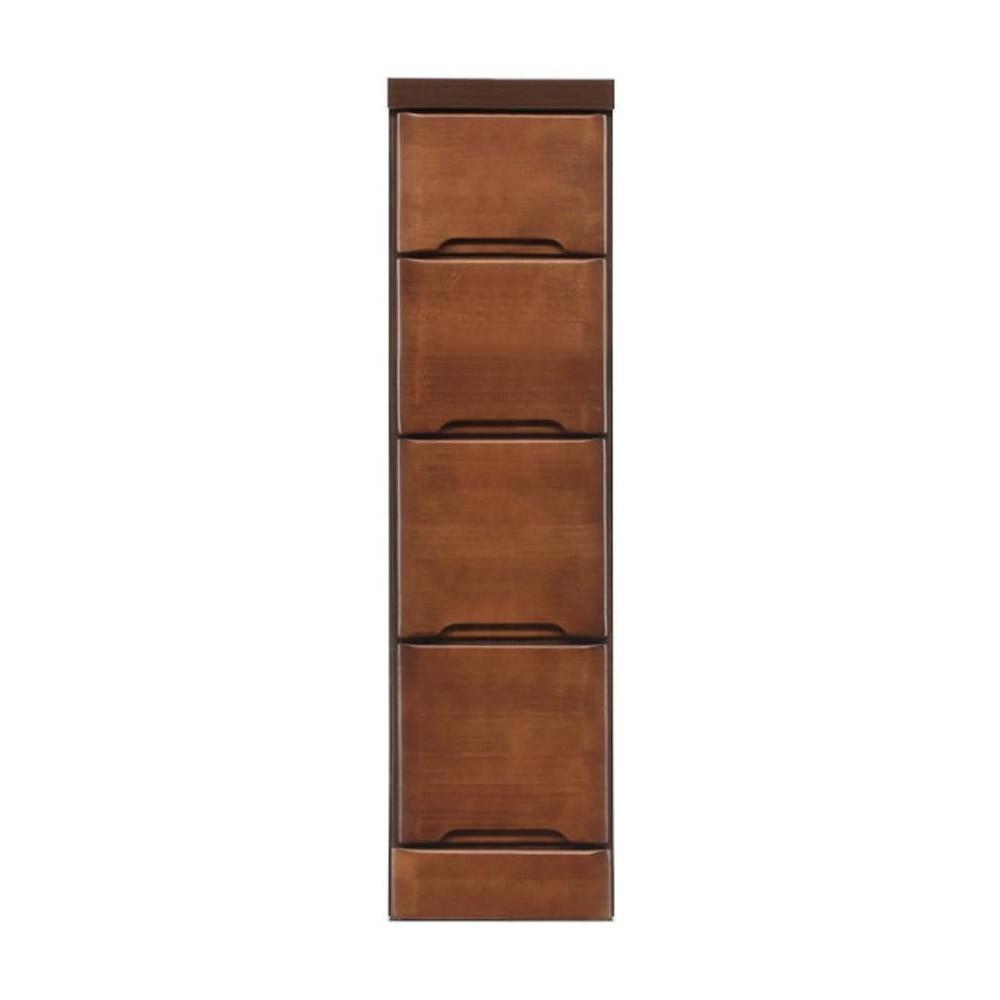 【代引不可】クライン サイズが豊富なすきま収納チェスト ブラウン色 4段 幅22.5cm