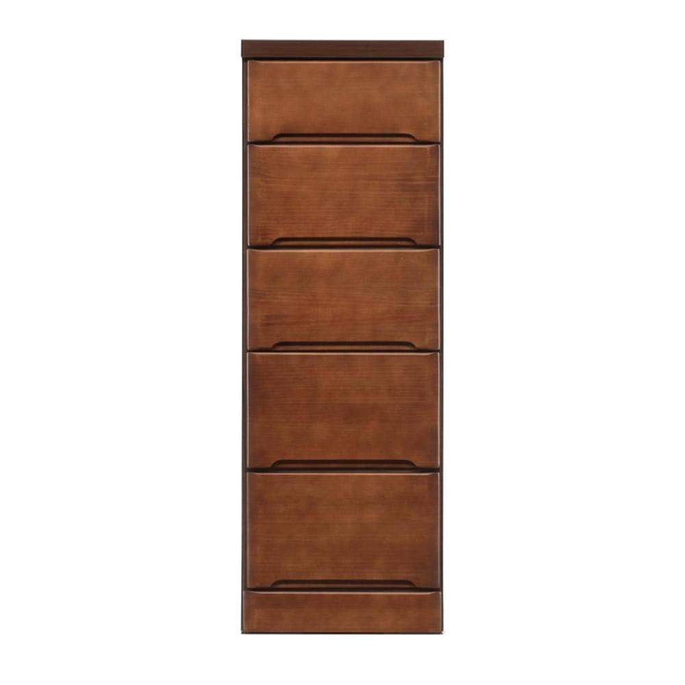 【代引不可】クライン サイズが豊富なすきま収納チェスト ブラウン色 5段 幅35cm