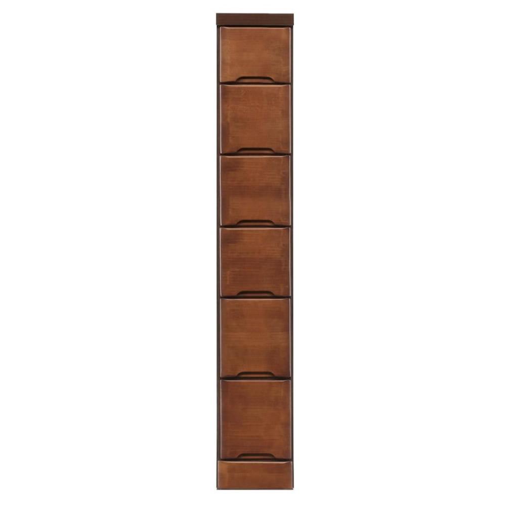 【代引不可】クライン サイズが豊富なすきま収納チェスト ブラウン色 6段 幅20cm