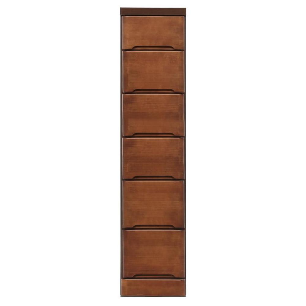 【代引不可】クライン サイズが豊富なすきま収納チェスト ブラウン色 6段 幅27.5cm